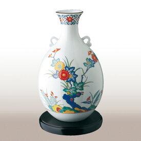 694-NDK8色絵岩菊 花瓶【香蘭社】