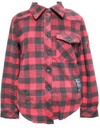 エドハーディー ed hardy レディースネルチェックシャツ レッドxブラック フランネルシャツ W060CF052 ドン・エド・ハーディー DON ED HARDY