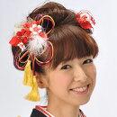 髪飾り和装新作2点セット和装花成人式卒業式結婚式パーティ浴衣夏祭り和modern丸打組紐黄金桜〈赤〉