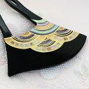 かんざし 黒漆調台 蒔絵 螺鈿 青海波角ならべ Rバチ型