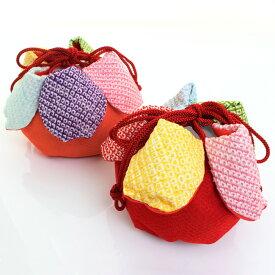 七五三 正絹巾着 絞り 花びら丸型 虹色かのこ花 〈赤&朱〉