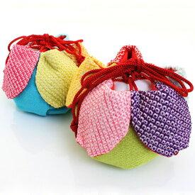 【お取り寄せ商品】七五三 正絹巾着 絞り 花びら丸型 虹色かのこ花 〈ヒワ&水色〉