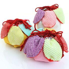 七五三 正絹巾着 絞り 花びら丸型 虹色かのこ花 〈ピンク・黄色・白〉