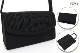 葬祭(ブラックフォーマル)用バッグ 3点セット ふくさ(袱紗)・ナイロン手提袋付き カブセP型Oアッパールーズプリーツ NO.KG-7