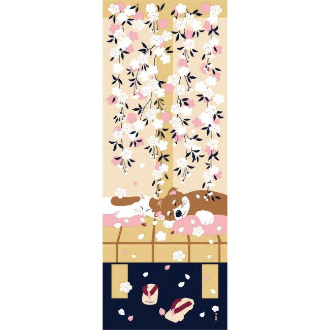 ■メール便OK♪合計2500円(税抜)以上でメール便送料無料■【濱文様・絵てぬぐい】豆柴と猫の春〜豆柴と猫シリーズ・人気の猫柄&犬柄・桜柄〜