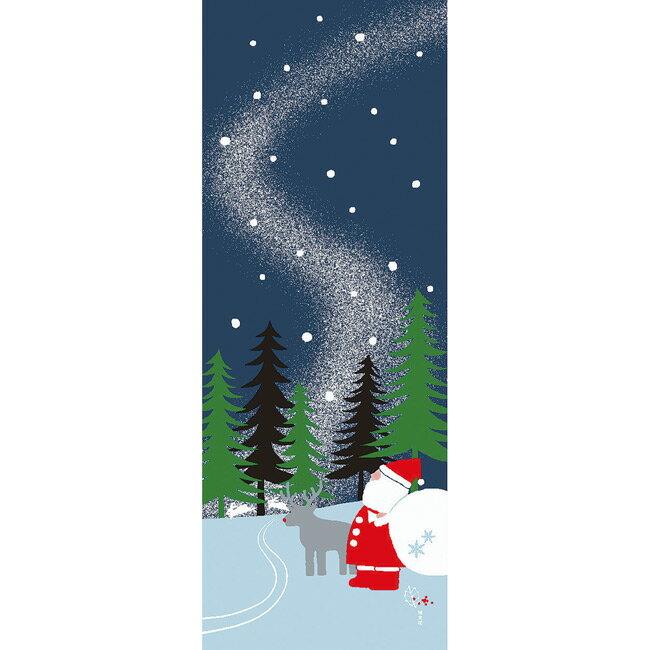 ■メール便OK■【濱文様・絵てぬぐい】雪山サンタ〜クリスマス柄〜