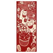 手ぬぐい正規取扱店【けねままねき猫(赤)】てぬぐい限定復刻別注まねき猫ネコねこ猫日本製縁起お正月けねまkenema気音間縦柄注染晒特岡かわいい祭剣道スポーツジム登山お弁当ギフトハンドメイド伝統職人made_in_japanメール便送料込