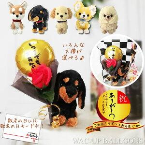 敬老の日 プレゼント チワワ トイプードル ダックス ポメラニアン レトリバー 柴犬 いつまでもお元気でバルーン&赤バラソープフラワーぬいぐるみPUPS