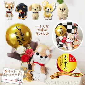 敬老の日 プレゼント チワワ トイプードル ダックス ポメラニアン レトリバー 柴犬 いつまでもお元気でミニバルーン&花束付子犬のぬいぐるみパプスセット