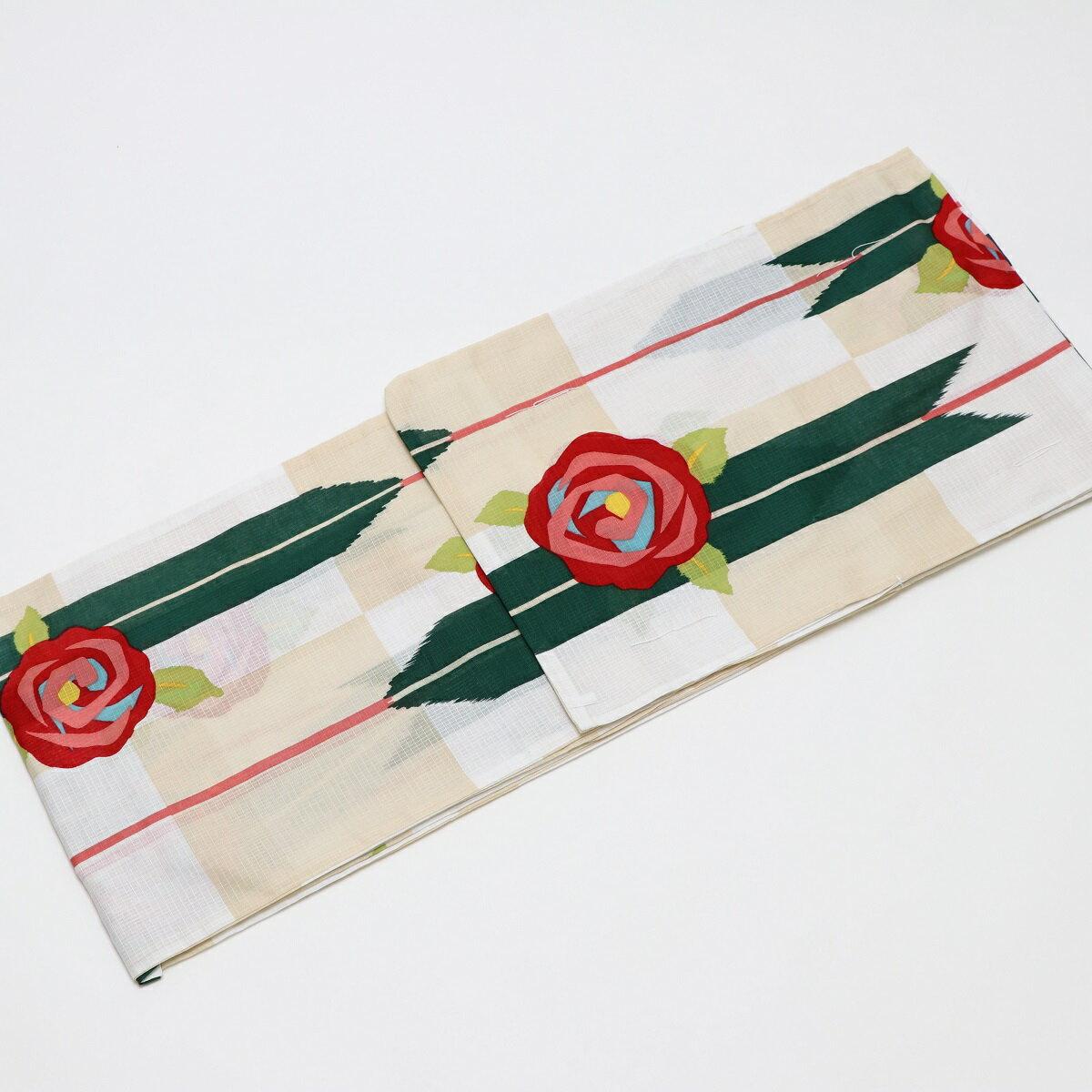 オリジナル浴衣 矢絣にバラ-クリーム 大人浴衣