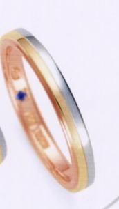 ★お買い得特別価格!!★RomanticBlue ロマンティックブルーPT900プラチナ/K18YG イエローゴールド/K18PGピンクゴールド4B5001(22)マリッジリング・結婚指輪・ペアリング用(1本)