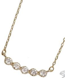 95-0807【受注生産】 me.luxe K10YG(イエローゴールド)ダイヤ/ラインネックレス(ペンダント)