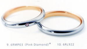 ★NINA RICCI【ニナリッチ】(17)6RMP03ピンクダイヤ&(18)6RL922-2本セットマリッジリング・結婚指輪・ペアリング