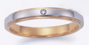 ★お買い得特別価格!!★EBP-12LEnbrasser Purest(アンブラッセ ピュアレスト 純プラチナ Pt-999)& 純金 (K24-999)(ダイヤ1個付)マリッジリング、結婚指輪、ペアリング用(1本)