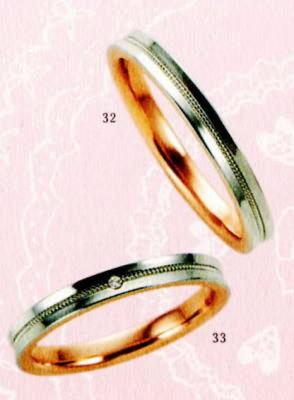 ★【卸直営店のお得な特別割引価格★Angerosa(アンジェローザ)(32)AR-512(M)&(33)AR-513(L)-2本セット, PT900/K18PGマリッジリング、結婚指輪、ペアリング
