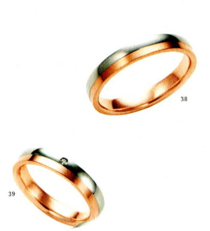 ★【卸直営店のお得な特別割引価格★Angerosa(アンジェローザ)(38)AR-501(M))&(39)AR-502(L)-2本セット , Pt900/K18PG マリッジリング、結婚指輪、ペアリング