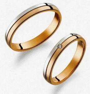 True Love トゥルーラブ (33) M375 & (34) M375D ダイヤ =2本セット 卸直営店お得な特別割引価格 Pt900 プラチナ & K18PG ピンクゴールド マリッジリング 結婚指輪 ペアリング