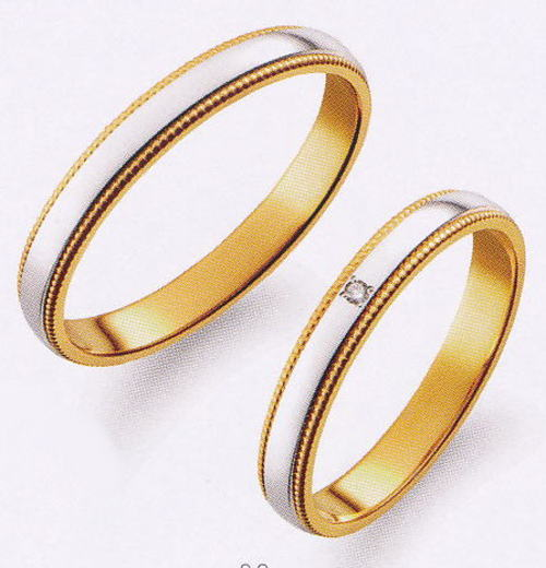 True Love トゥルーラブ (37) M377 & (38) M377D ダイヤ =2本セット 卸直営店 お得な特別割引価格 Pt900 プラチナ & K18YG イエローゴールド マリッジリング 結婚指輪 ペアリング