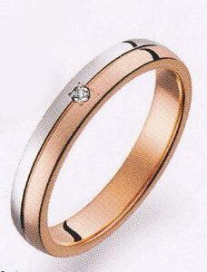 True Love トゥルーラブ (34) M375D-3 ダイヤ 卸直営店 お得な特別割引価格 Pt900 プラチナ & K18PG ピンクゴールド マリッジリング 結婚指輪 ペアリング(1本)