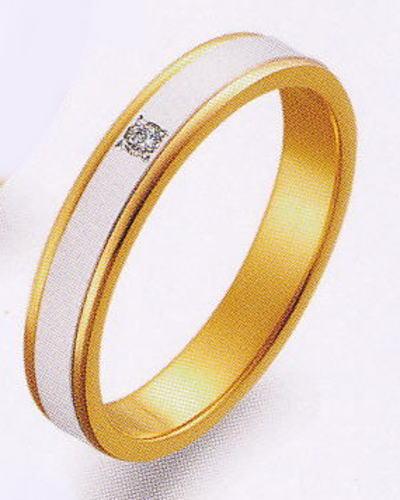 True Love トゥルーラブ (40) M097D ダイヤ 卸直営店 お得な特別割引価格 Pt900 プラチナ & K18YG イエローゴールド マリッジリング 結婚指輪 ペアリング(1本)