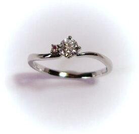 プラチナ ダイヤモンド0.210ct E-SI2-EX リング(ピンクダイヤ入り)♪