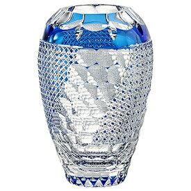 KAGAMI CRYSTAL カガミクリスタル 江戸切子 花器 亀甲紋三面切子(伝統工芸士 篠崎英明) 24cm F810-2800CCB 花瓶 フラワーベース