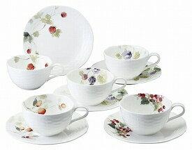 鳴海製陶 ナルミ NARUMI ルーシーガーデン 5客ティー・コーヒー碗皿 96010-23067P カップ&ソーサー コーヒーカップ