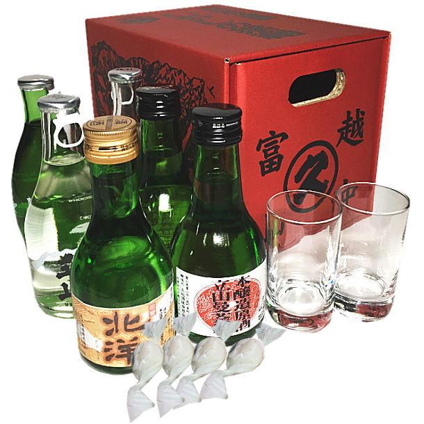 富山の地酒 いやしの薬箱(180ml瓶×6本+素敵なグラスのぐい呑み2個+酒粕あめ4個)セット
