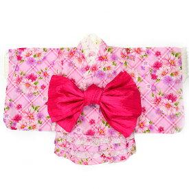 【3点セット】【90サイズ】【女の子ゆかた】浴衣ドレス+ふわふわ兵児帯番号b505-3-90
