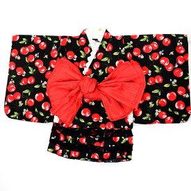 【3点セット】【90サイズ】【女の子ゆかた】浴衣ドレス+ふわふわ兵児帯番号b505-5-90