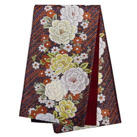 振袖用 正絹 仕立て上がり袋帯 単品成人式 振袖 袋帯 花柄 金 茶 白 オレンジ 黒番号d920-5