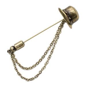 ラペルピン メンズ ブローチ ピンブローチ 帽子 ハット ユニーク おもしろ レディース ハットピン チェーン ギフト プチギフト プレゼント おしゃれ ブランド