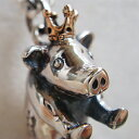 子豚の王様ペンダント(ぶたネックレス) ブタ 動物モチーフ 首飾り 18金 K18 ピンクゴールド シルバーアクセサ…
