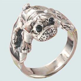 パグ犬リング 送料無料 犬 イヌ いぬ 動物チーフ 天然石 オニキス 指輪 指環 シルバーアクセサリー SILVER925 十二支 干支戌 女性 男性 プレゼント ギフト対応