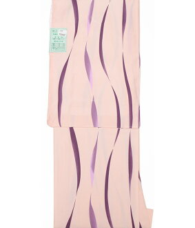 Cloth for 7800 washable kimono newly made crepe プレタ washable geometry race striped wave pattern pink appk984(2)