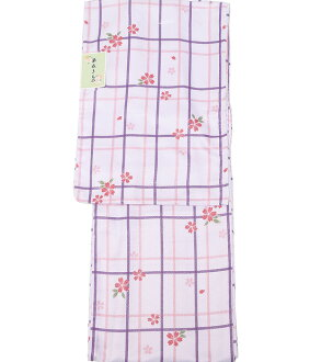 hppk567-l(1) where an unlined clothes kimono newly made kimono washable kimono Lady's unlined clothes fine pattern stripe cherry tree cherry tree check with good-quality domestic cloth washable base design is pretty