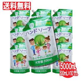 ハンドソープ 薬用ハンドソープ詰め替え用 10個セット 大容量 5000mL(500mL×10個)洗浄 殺菌 消毒 保湿 アロエエキス 日本製 送料無料 携帯