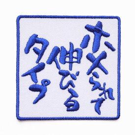 文字ワッペン「ホメられて伸びるタイプ」【刺繍 アイロン接着 文字ワッペン おもしろワッペン】