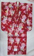 在庫処分大特価!蔵出し特価品新品753七五三ポリエステル赤系レッド女の子7歳祝い着七歳着物長襦袢付※胴裏、裏地と長襦袢もポリエステルです。※重ね衿付き※半衿別売り
