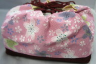 巾着巾着袋紫赤綿ポリエステル浴衣小紋紬