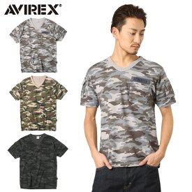 AVIREX アビレックス 6153347 FATIGUE VネックTシャツ CAMO /【クーポン対象外】ミリタリー 軍物 メンズ  【キャッシュレス5%還元対象品】