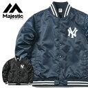 【20%OFFセール開催中】MAJESTIC マジェスティック ニューヨークヤンキース バックロゴ サテン スタジアムジャケット MM23-NY-9F04