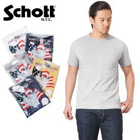 Schott ショット 3133035 S/S クルーネック ポケット Tシャツ /【クーポン対象外】ミリタリー 軍物 メンズ 男性 ギフト プレゼント