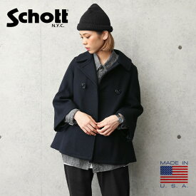 【今だけ50%OFF大特価】Schott ショット 7515 レディース フレアスリーブ ピーコート MADE IN USA【クーポン対象外】