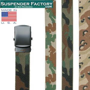 SUSPENDER FACTORY サスペンダーファクトリー MF110 キャンバスベルト CAMO ブラックバックル MADE IN USA/ミリタリー 軍物 メンズ