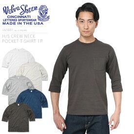 【20%OFFセール開催中】Velva Sheen ベルバシーン 161831 H/S クルーネック ポケットTシャツ MADE IN USA/ミリタリー 軍物 メンズ 男性 ギフト