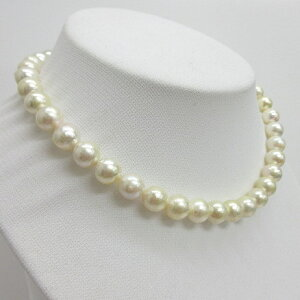 (181)【訳あり】アコヤ真珠ネックレス9.5mm-10mm あこや真珠ラウンド〜セミバロック 花クラスプSV チョーカー 本真珠40cm 40センチ