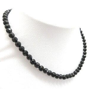SV引き輪 オニキスのネックレス 6mm前後 長さ選択できます約38cm39cm40cmその他相談 パワーストーン・色石・天然石ネックレスミラーボールカット 黒 キラキラ 多面カット連売り191