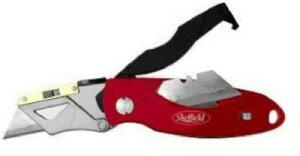 SHEFFIELD 12331 替刃式 折りたたみ式カッターナイフ 強力型 レッド 収納ポーチ付き 便利もん