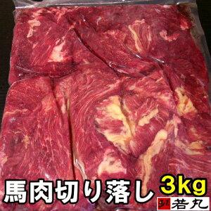 馬肉切り落し 3kg ( 1kg ×3パック) 板状だから冷凍庫にスッキリ収納 馬ガッキ煮 すじ煮込み すじ スジ ペット馬肉 犬用 猫用 にも最適 メガ盛り 生肉 ドッグフード 切り落とし 切落し 切
